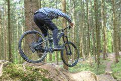 Mountainbike Downhill auf Wurzeltrail